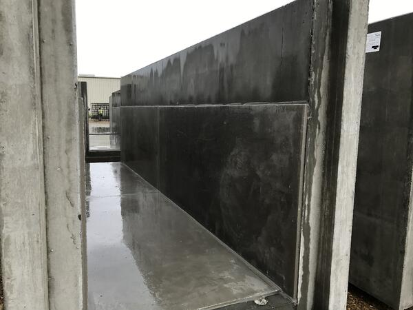 close-up InsulPOX sheets inlaid over precast concrete trench floor and walls